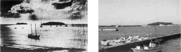 関東大震災前の沖ノ島(左)と高ノ島(右)