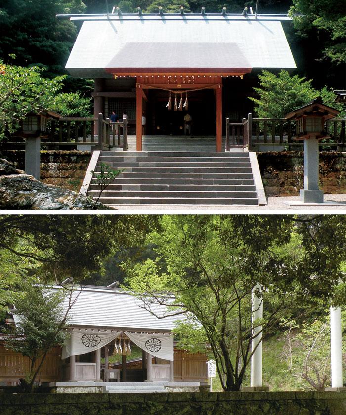 写真上:上の宮、写真下:下の宮