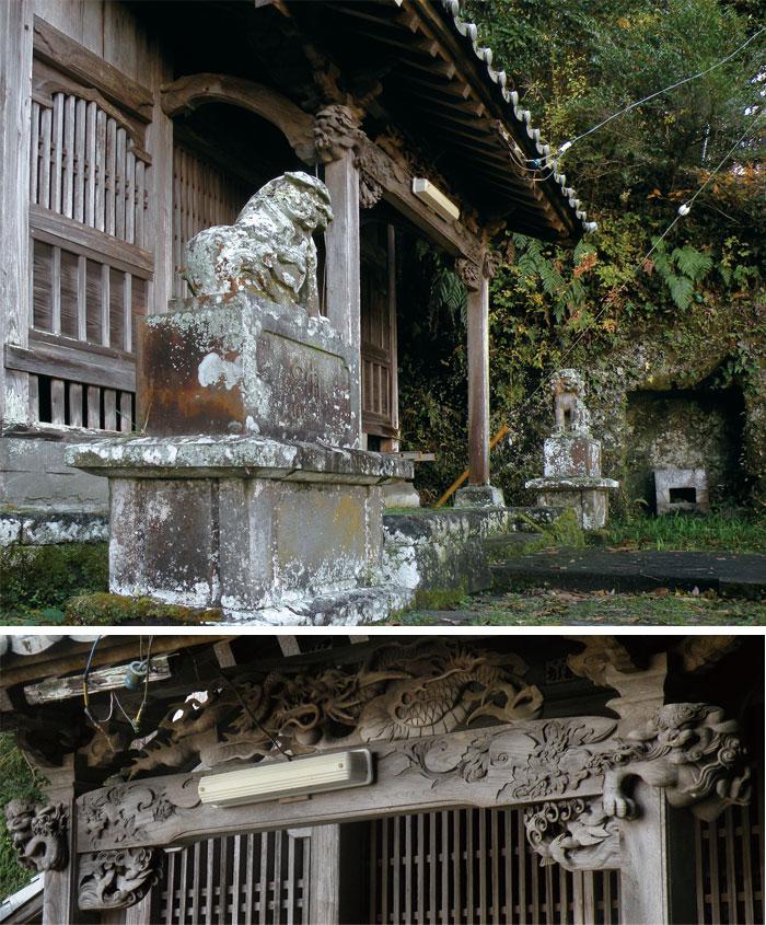 白幡神社拝殿(上)と拝殿向拝彫刻(下)