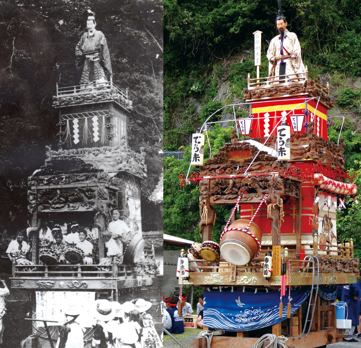 大正11年(左)と現在の寺赤の山車