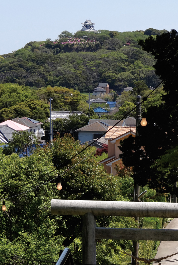 天満神社から見た沼地区の風景。真正面に城山が見える。