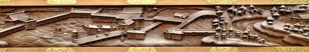 安芸宮島にある厳島神社風景の彫刻