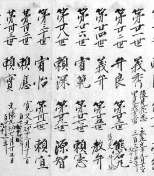 那古寺歴代書上(部分) 天保8年(1837年)写