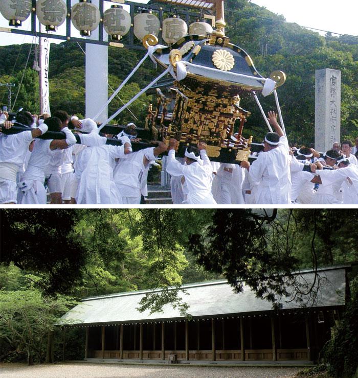写真上:例祭での神輿渡御、写真下:境内にある御旅所