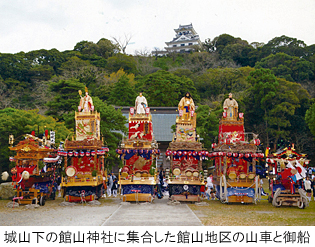城山下の館山神社に集合した館山地区の山車と御船