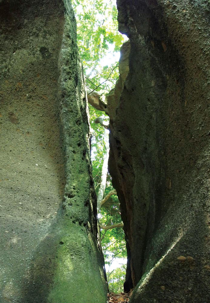 海南刀神社の本殿裏にある二つに割れた巨岩