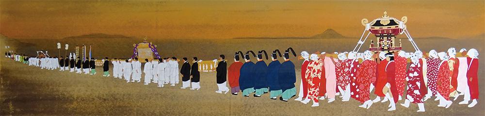 その昔の布良崎神社祭礼の姿を描いた 「布良崎神社御浜出行列の図」 (布良崎神社所蔵 近藤博 画)